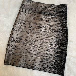 BCBG Maxazria body con skirt in gunmetal metallic